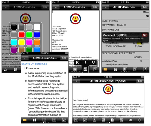 Documents To Go for Apple iPhone screen shots